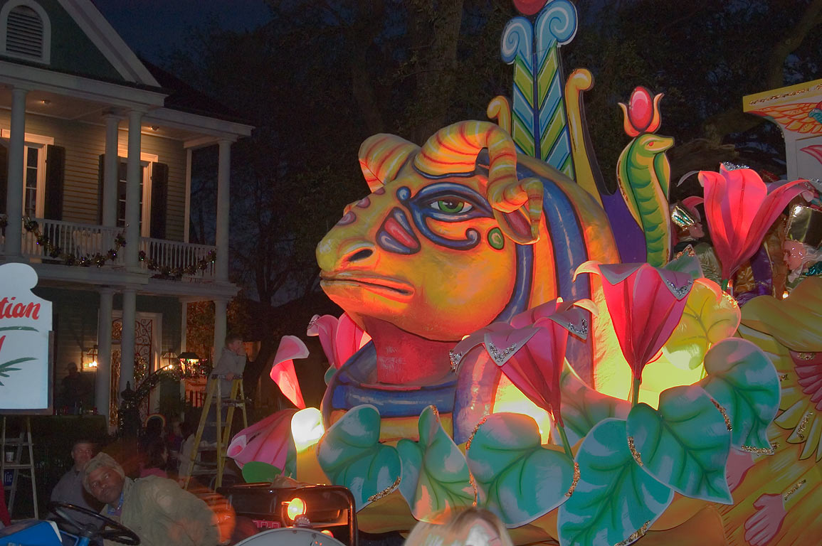 Frog float of krewe of Proteus at Mardi Gras...Charles Ave.. New Orleans, Louisiana