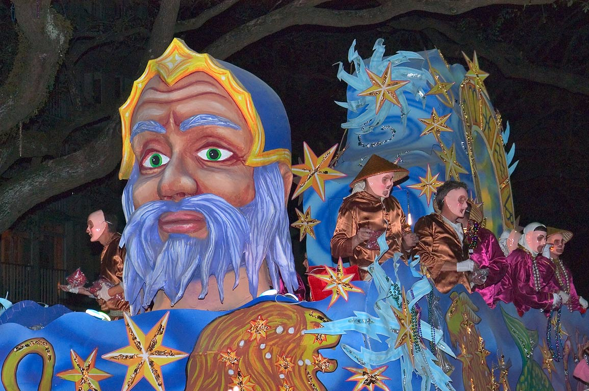King float of krewe of Proteus at Mardi Gras...Charles Ave.. New Orleans, Louisiana