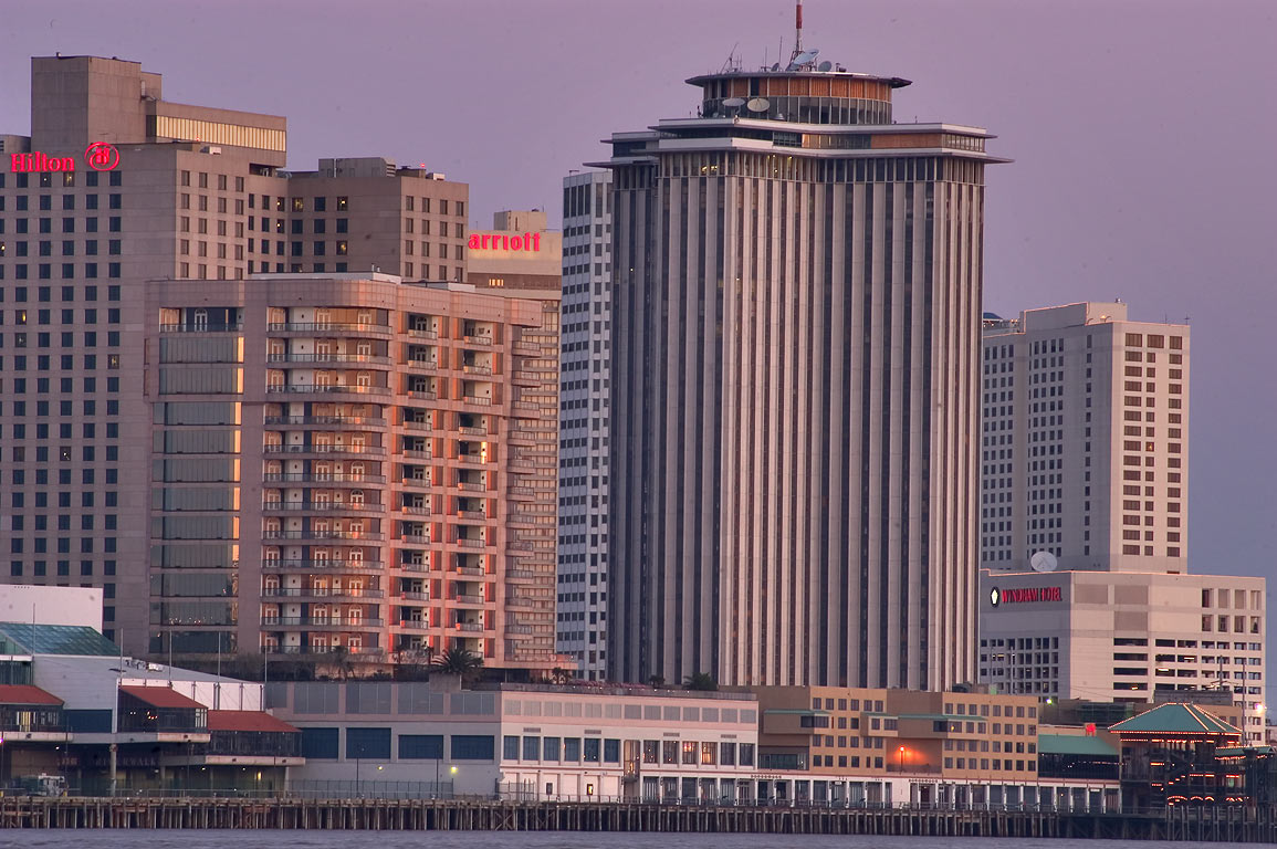 Riverfront, WTC Tower and high-rise hotels, view...West Bank). New Orleans, Louisiana
