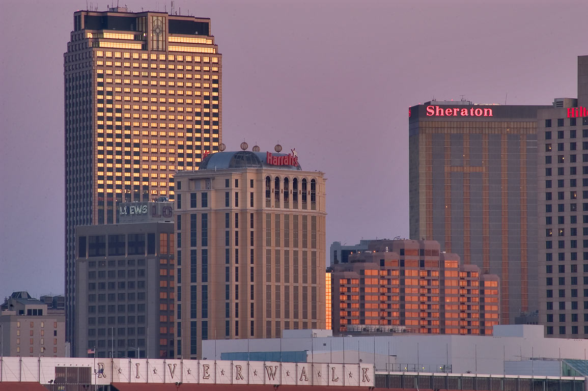 Riverwalk mall, Harrahs Casino and hotels, view...West Bank). New Orleans, Louisiana