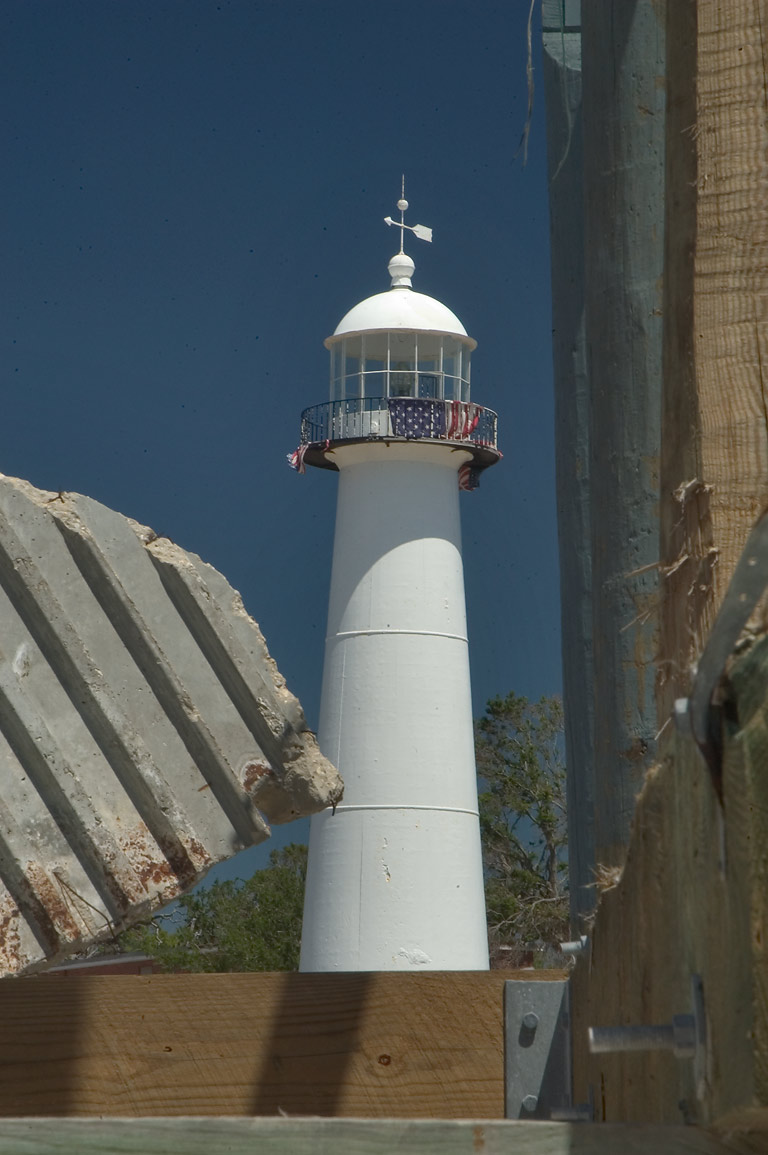 A lighthouse in Gulfport, view from beach debris. Mississippi