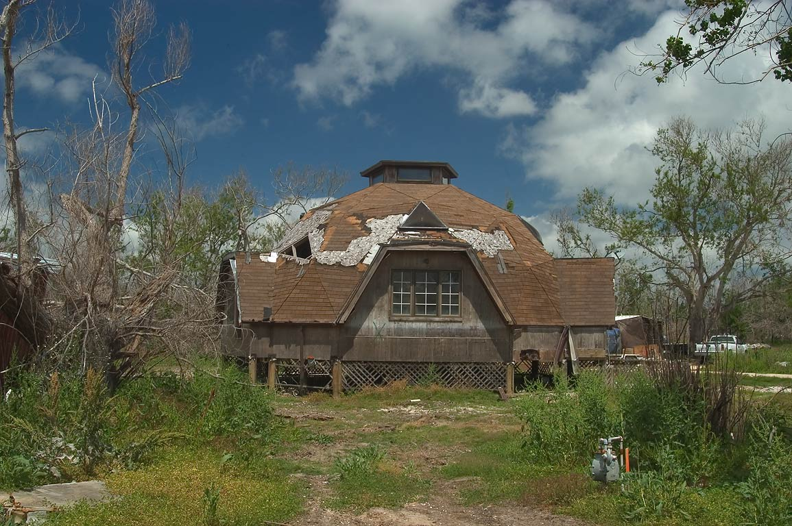 Round hurricane-proof house at West Gulf Rd. in Buras. Plaquemines Parish, Louisiana