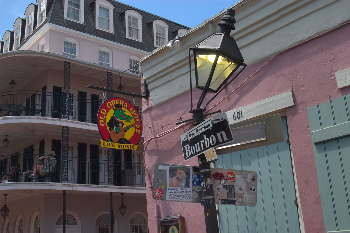Old Opera House at 601 Bourbon Street, corner...French Quarter. New Orleans, Louisiana