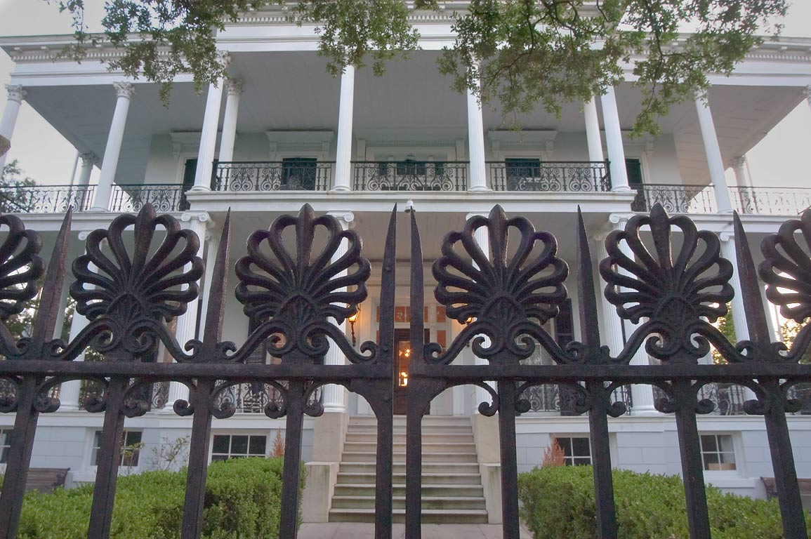 Iron gate of Buckner Mansion (Soule College, 1856...District. New Orleans, Louisiana