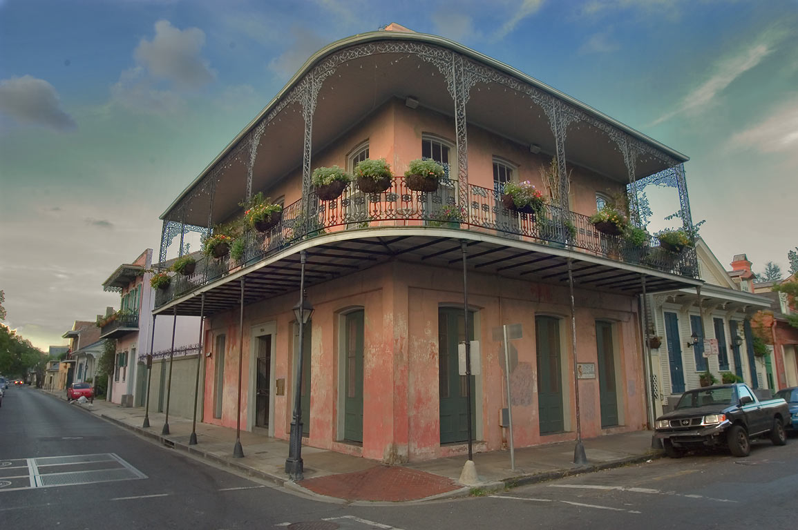 A corner of Ursulines Ave. and Dauphine St. in French Quarter. New Orleans, Louisiana