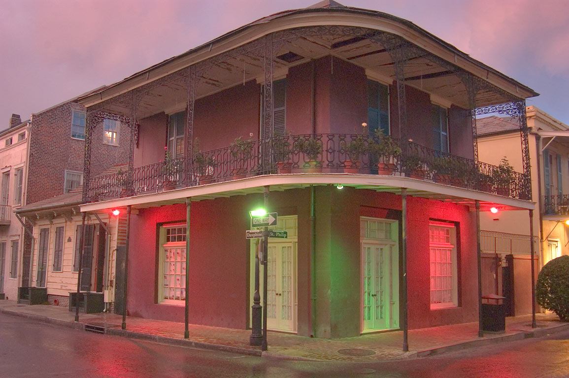 A corner of Dauphine and St.Philip streets in...at evening. New Orleans, Louisiana