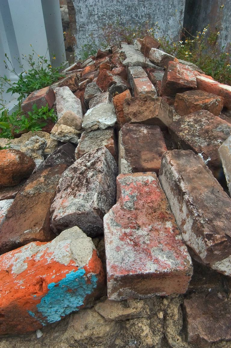 Bricks on a tomb in St.Louis Cemetery No. 1. New Orleans, Louisiana
