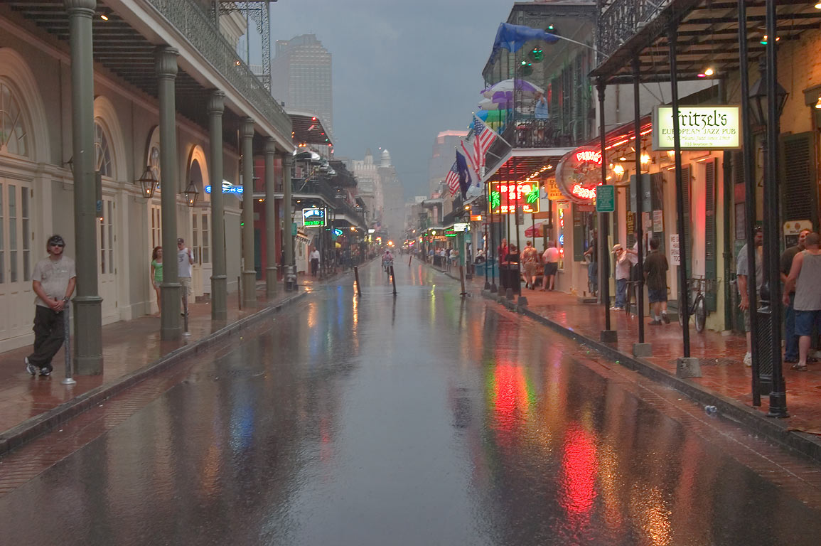 Bourbon Street near Orleans St. at rain in French Quarter. New Orleans, Louisiana