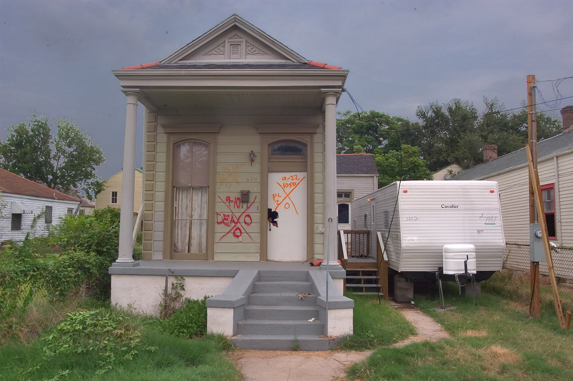 A shotgun house at 619 Flood St. near Royal St...neighborhood. New Orleans, Louisiana