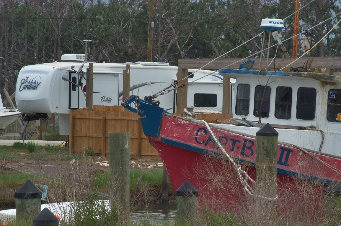 Islander Marina fishing village at Bayou Caddy in...view from Pleasure St.. Mississippi