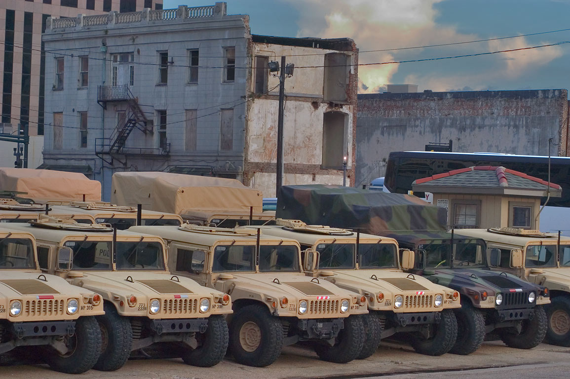 Humvee and other military police vehicles of...District. New Orleans, Louisiana