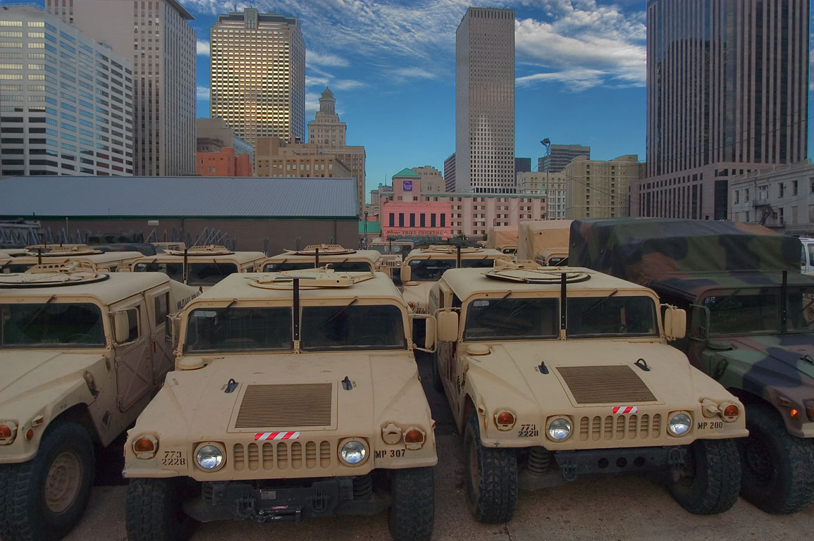 A staging ground for Humvee military vehicles of...District. New Orleans, Louisiana