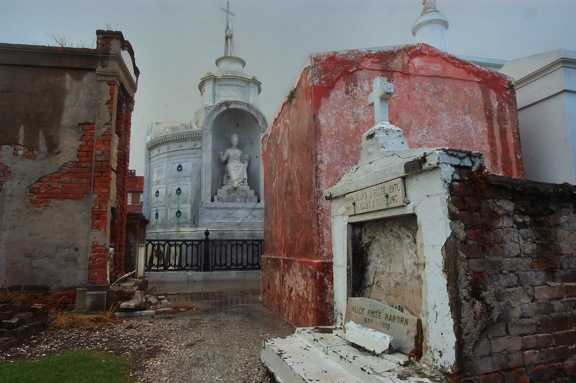 An alley in St.Louis Cemetery No. 1, with a tomb...in background. New Orleans, Louisiana