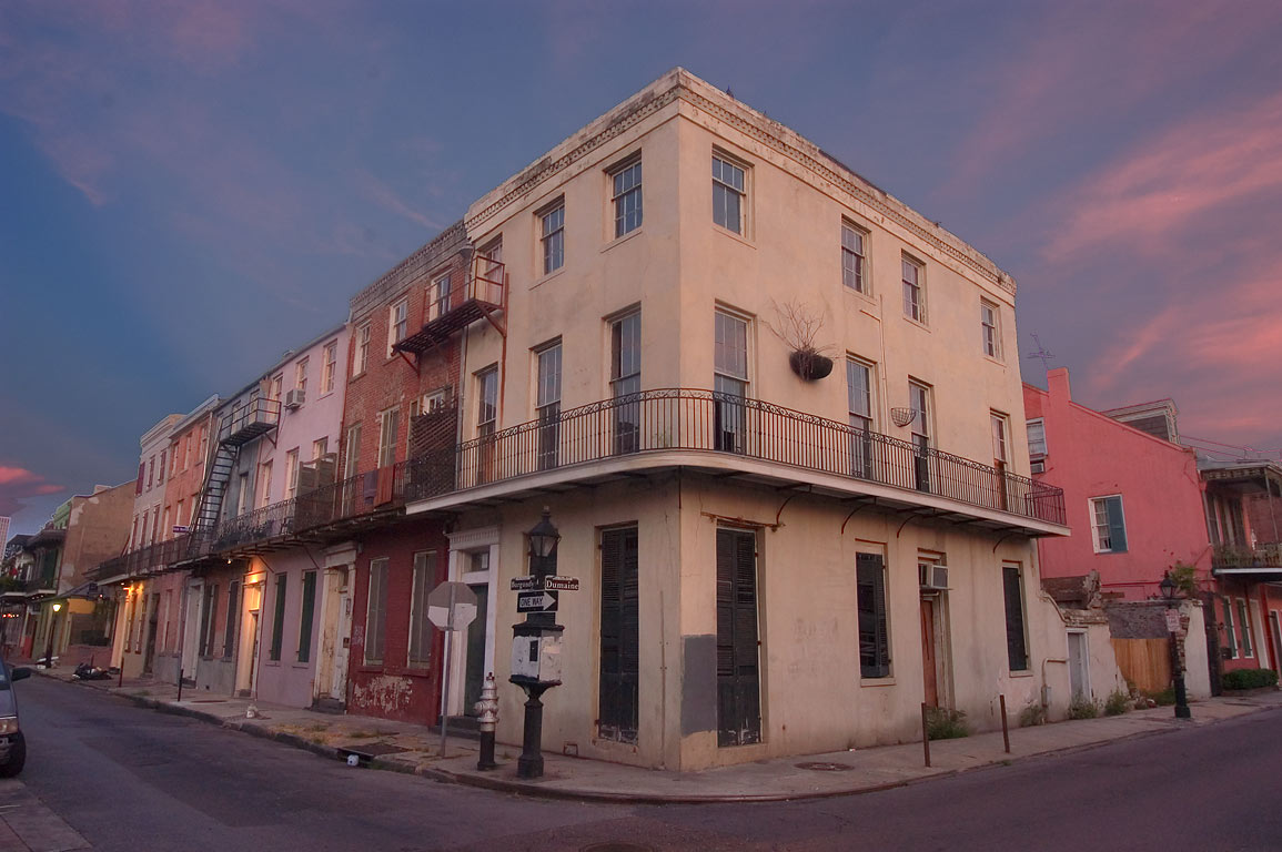 A corner of Burgundy and Dumaine streets in French Quarter. New Orleans, Louisiana