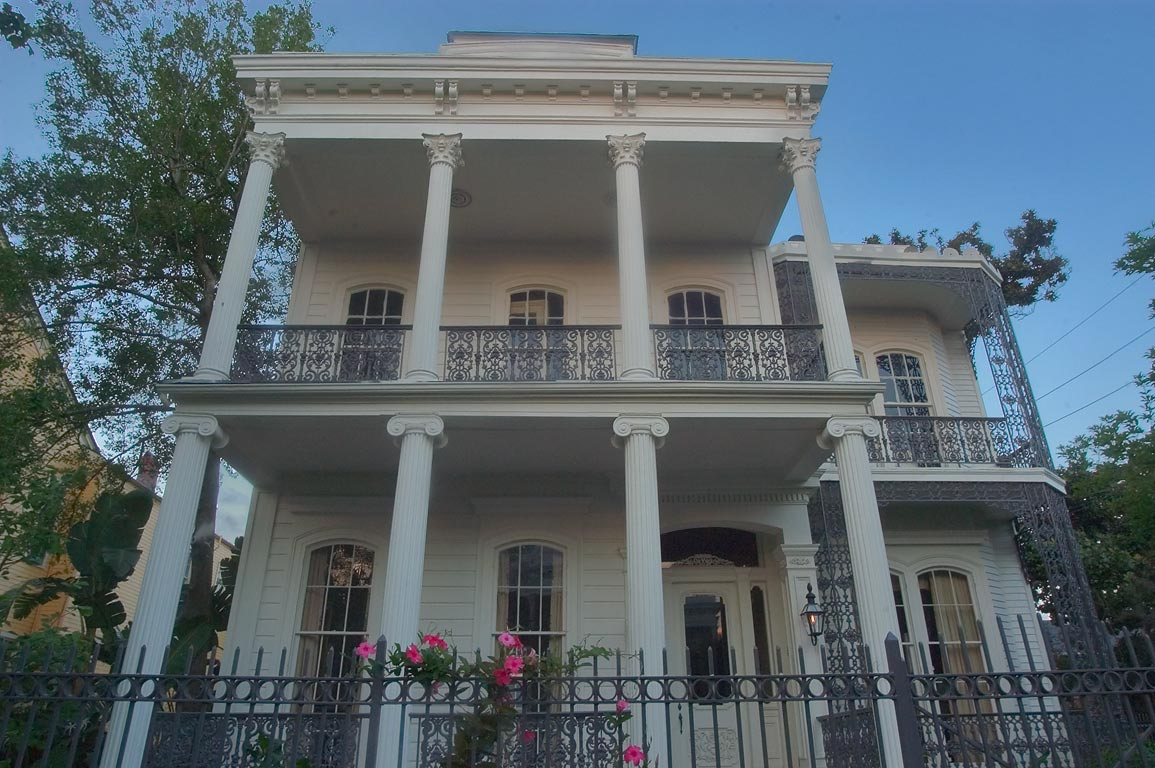 A double gallery house on Third St. in Garden District. New Orleans, Louisiana