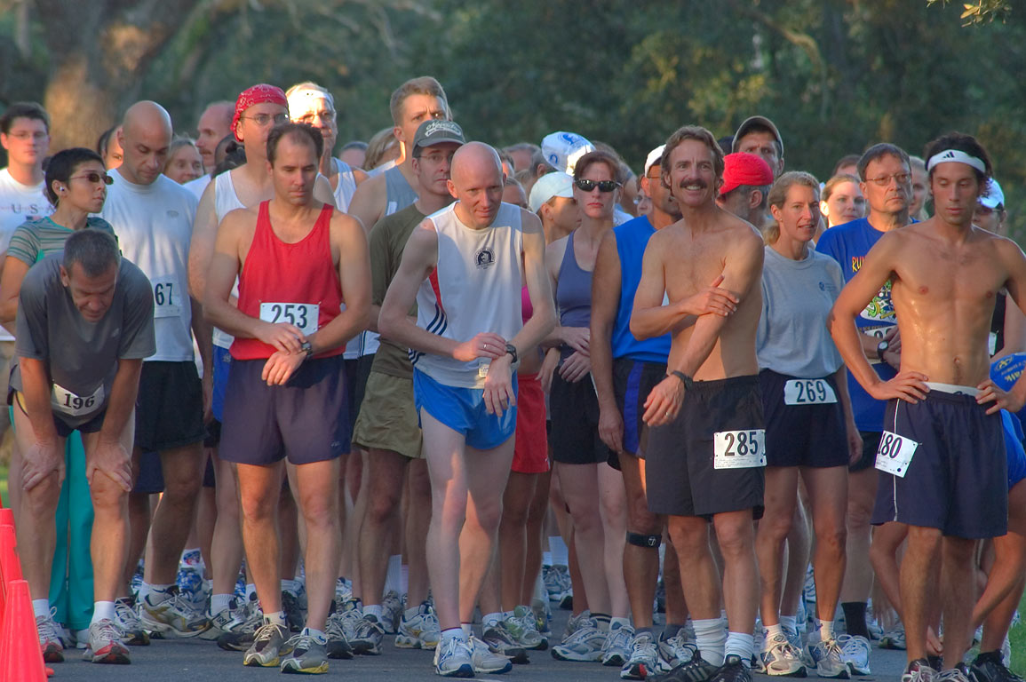 A morning marathon starting on International Dr. in Audubon Park. New Orleans, Louisiana