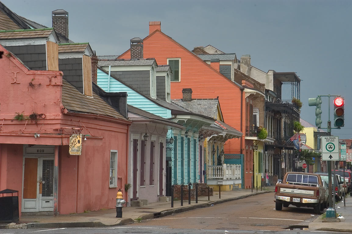 Orleans St., view from a corner of North Rampart...French Quarter. New Orleans, Louisiana