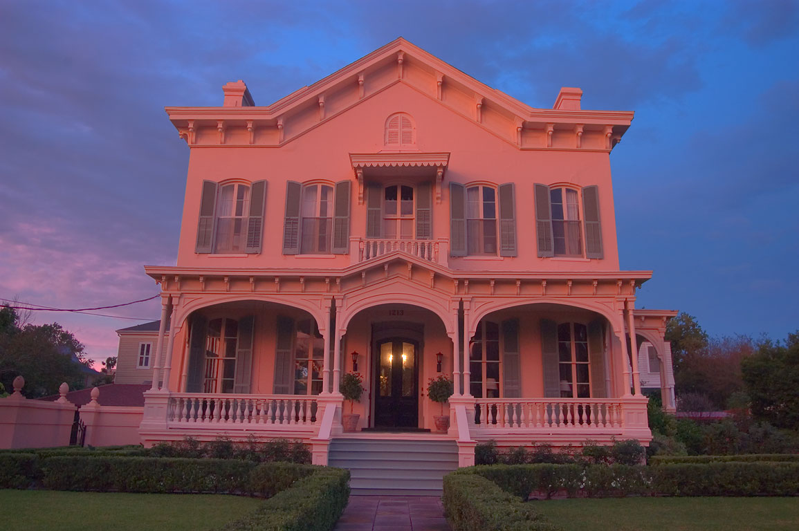 Montgomery-Hero-Reynoir House at 1213 Third St...at sunset. New Orleans, Louisiana