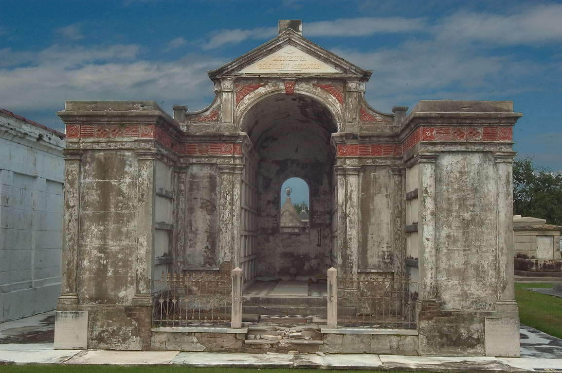 A tomb of Minerva Benevolent Association in Metairie Cemetery. New Orleans, Louisiana