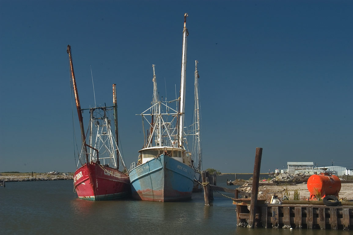 Shrimp boats near Highway 1 in Leeville. Lafourche Parish, Louisiana