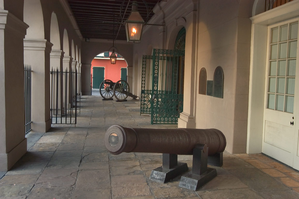 Cannons in front of State Museum Cabildo on...French Quarter. New Orleans, Louisiana