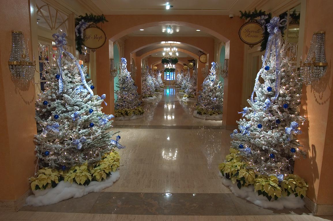 Christmas trees in Royal Sonesta Hotel on Bourbon...French Quarter. New Orleans, Louisiana