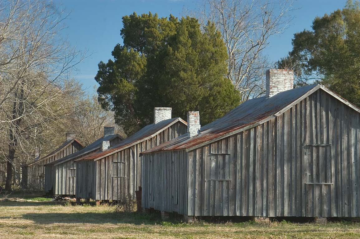 Row of workers cabins in Laurel Valley. Thibodaux, Louisiana