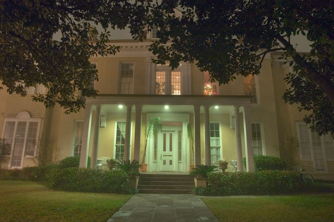 Warwick Manor, at 2427 Camp St. in Garden District in fog. New Orleans, Louisiana