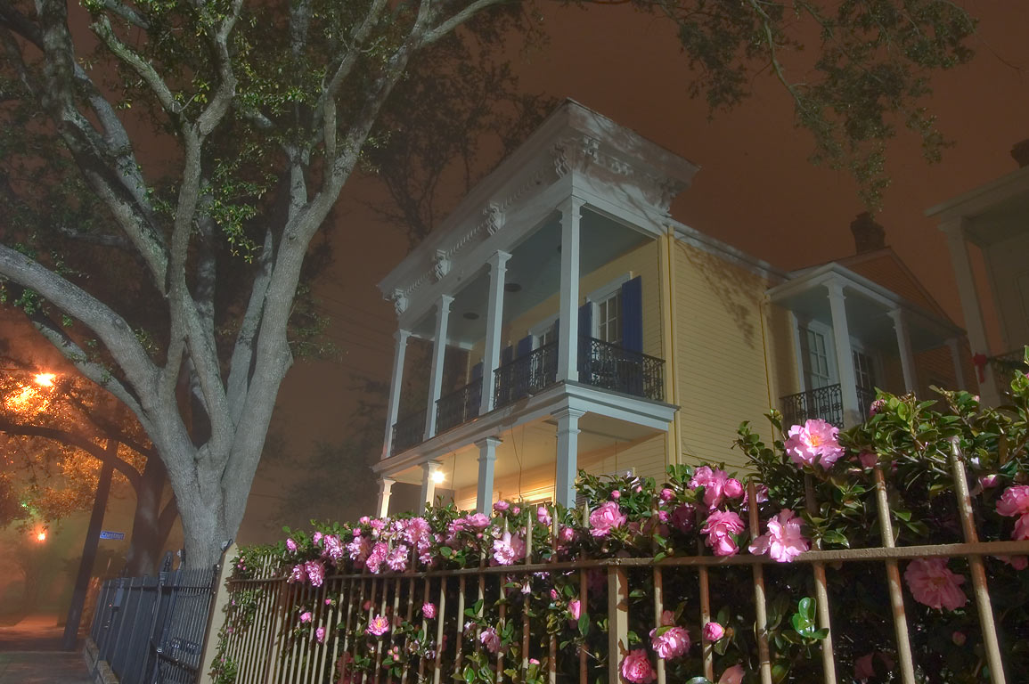 A house in the area of Second St. in Garden District at night. New Orleans, Louisiana