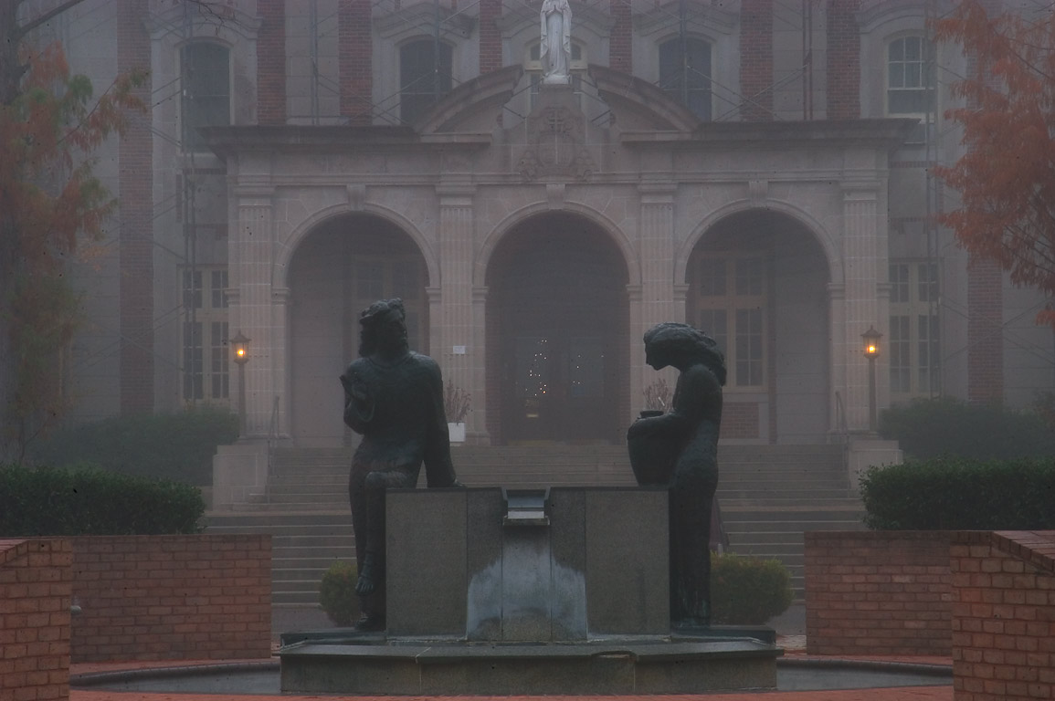 Notre Dame Seminary at 2901 South Carrollton Ave. in fog. New Orleans, Louisiana