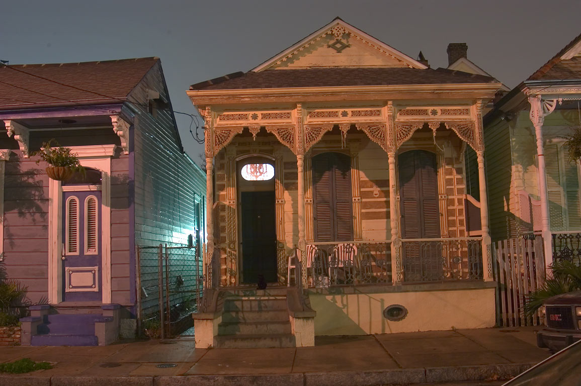 Mandeville Street near Burgundy St. in Faubourg Marigny at evening. New Orleans, Louisiana