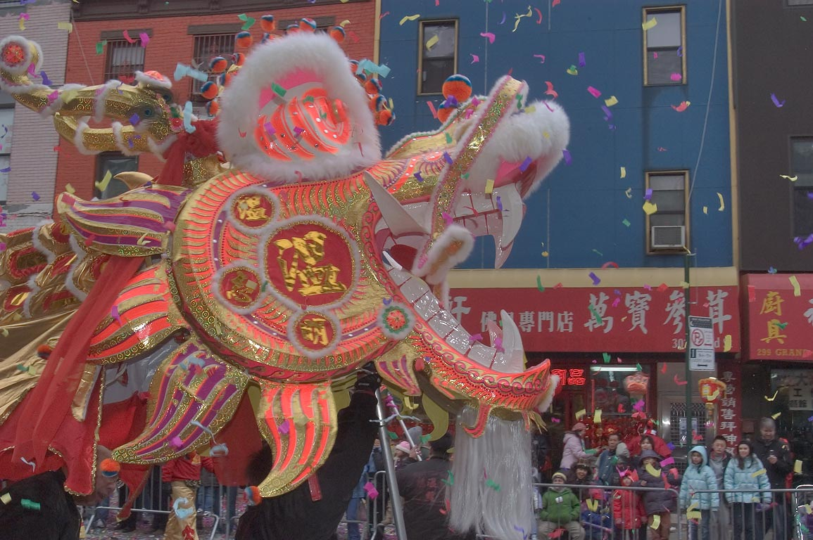 Paper dragon procession during Chinese Lunar New...Street in Chinatown. New York City