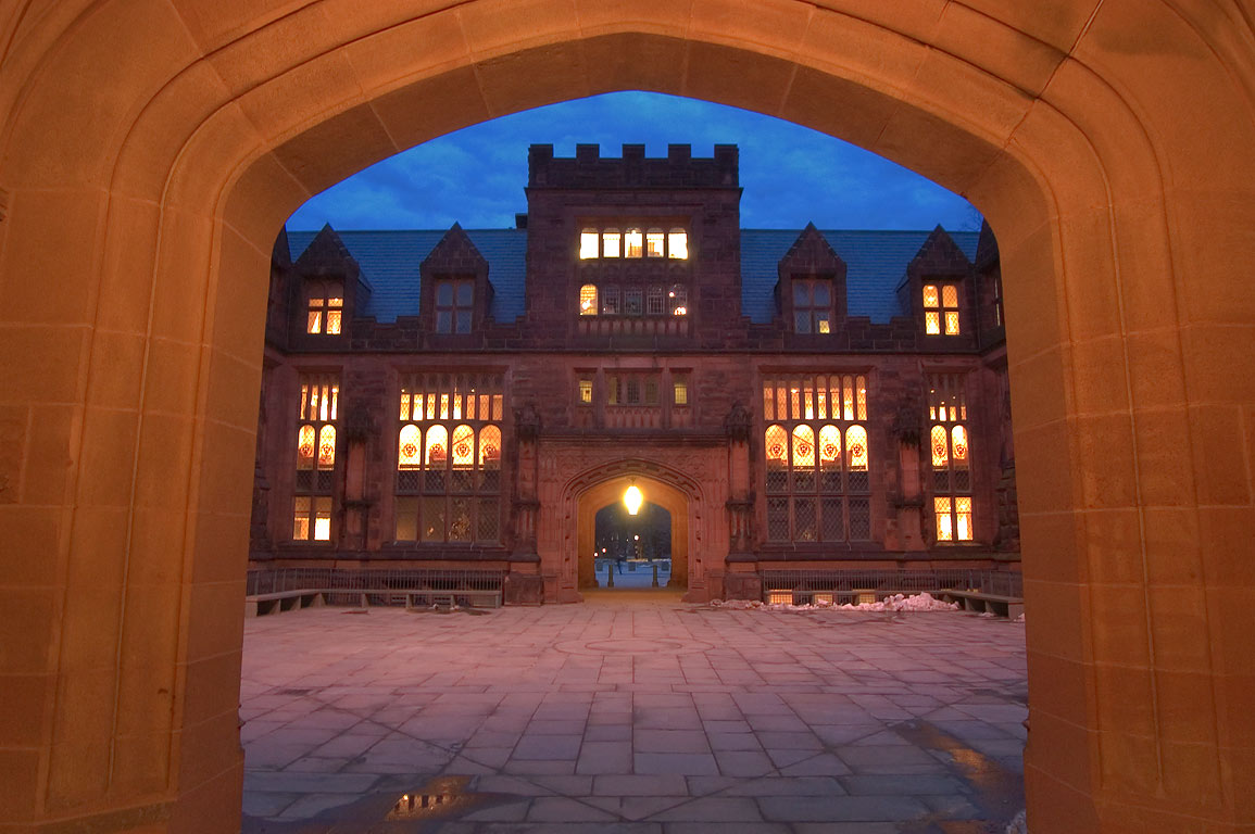 Arch and a courtyard of East Pyne Hall in Princeton University. Princeton, New Jersey