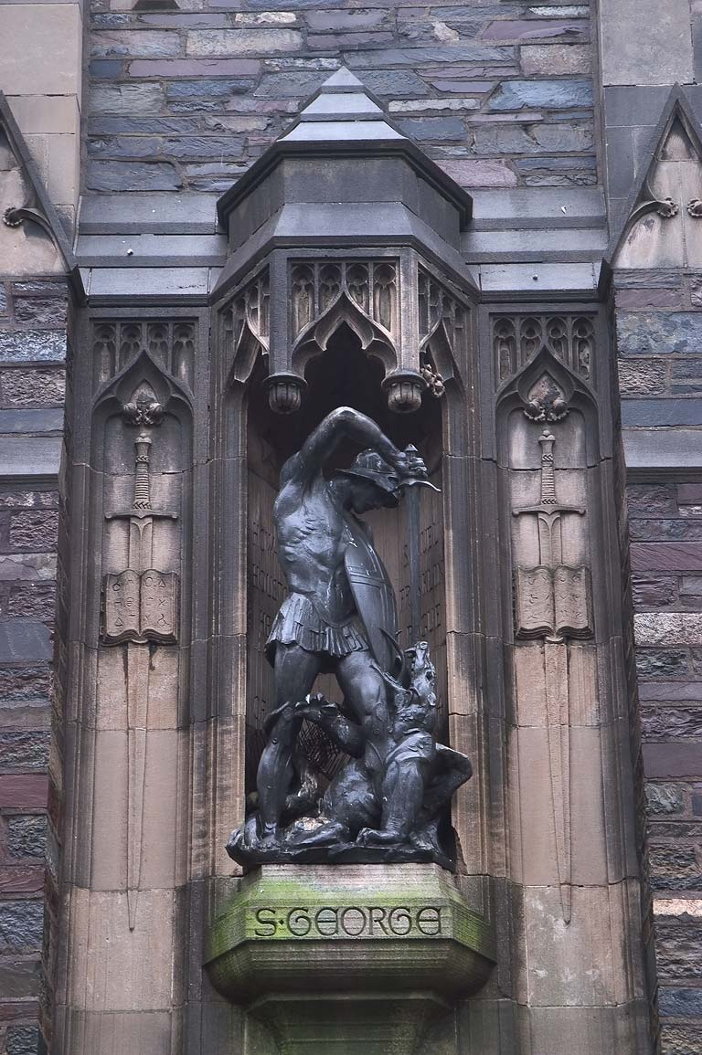 A statue of Foulke Hall in Princeton University...Place street. Princeton, New Jersey