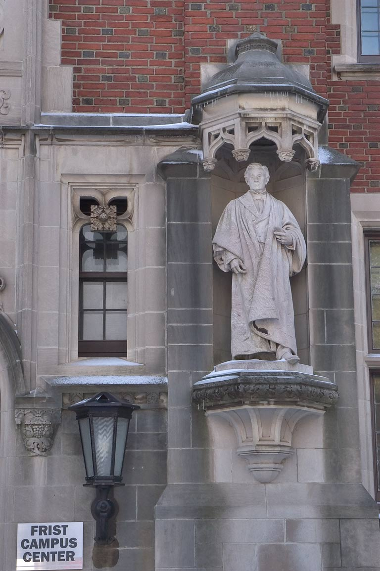 A lantern and a statue at the entrance of Frist...University. Princeton, New Jersey