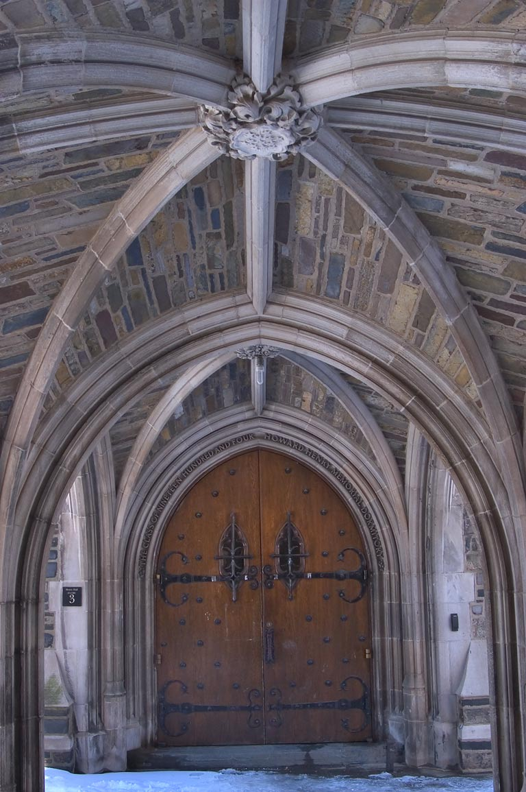 An arch of Foulke Hall in Princeton University. Princeton, New Jersey