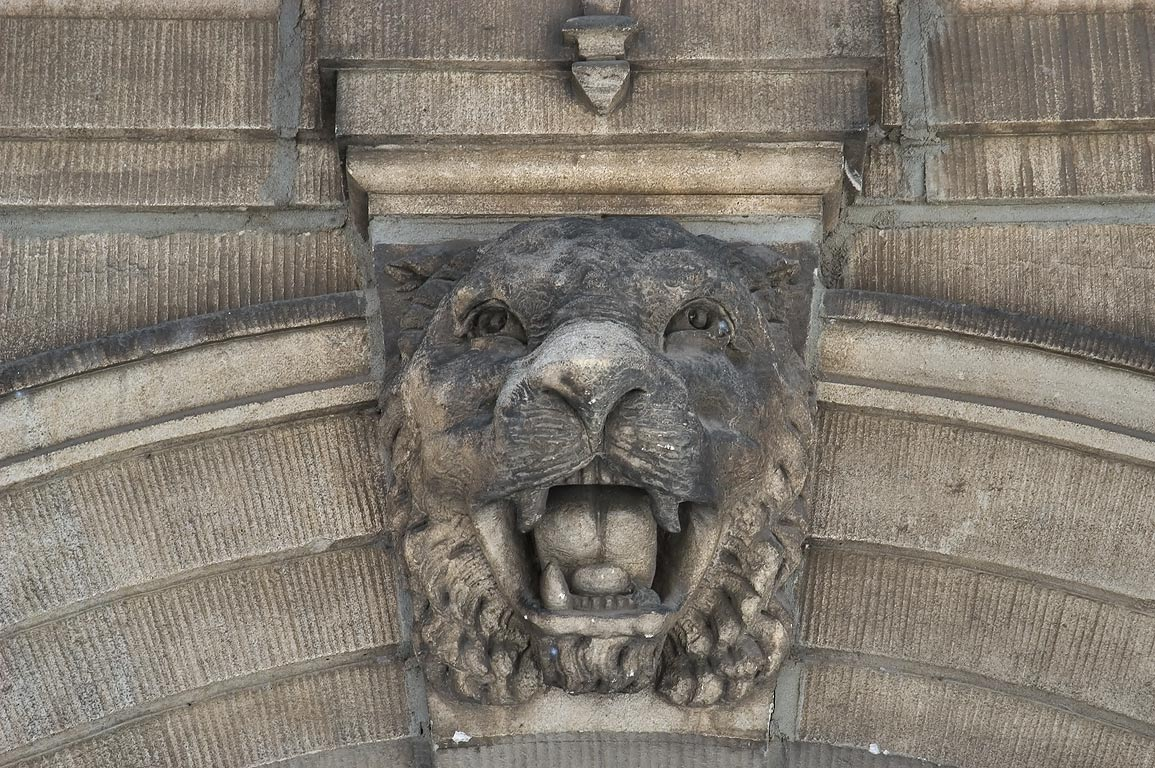 A tiger face on Henry Hall in Princeton University. Princeton, New Jersey