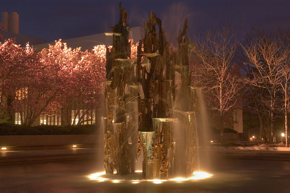 "A sculpture of James Fitzgerald ""Fountain of...at evening. Princeton, New Jersey"