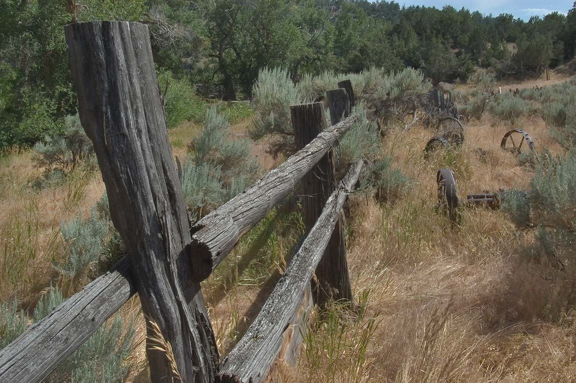 A fence behind the ranch near Casper. Wyoming