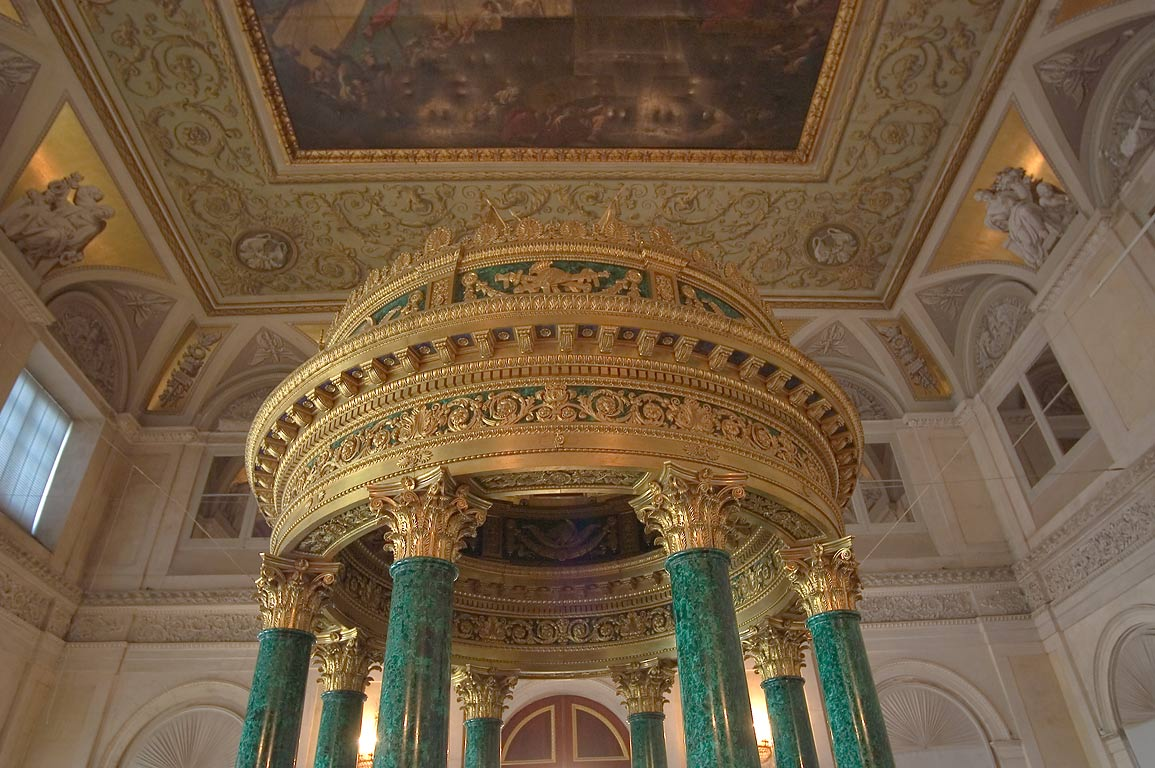 Malachite rotunda in Hermitage museum. St.Petersburg, Russia