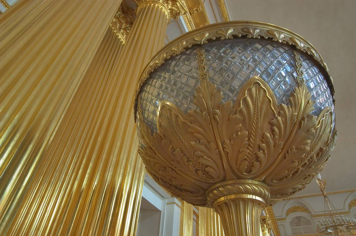 Gilded lantern of Armorial (Emblem) Hall in Hermitage museum. St.Petersburg, Russia