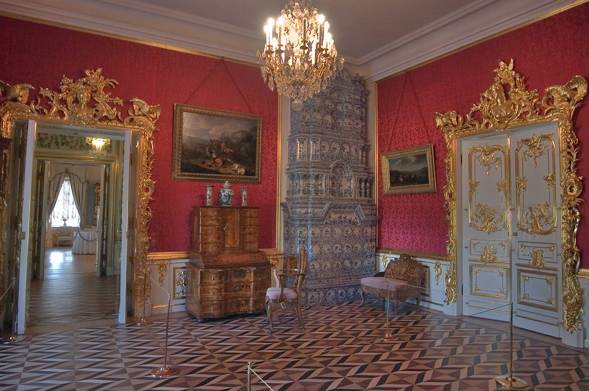 Red room in Grand Palace. Peterhof, a suburb of St.Petersburg, Russia