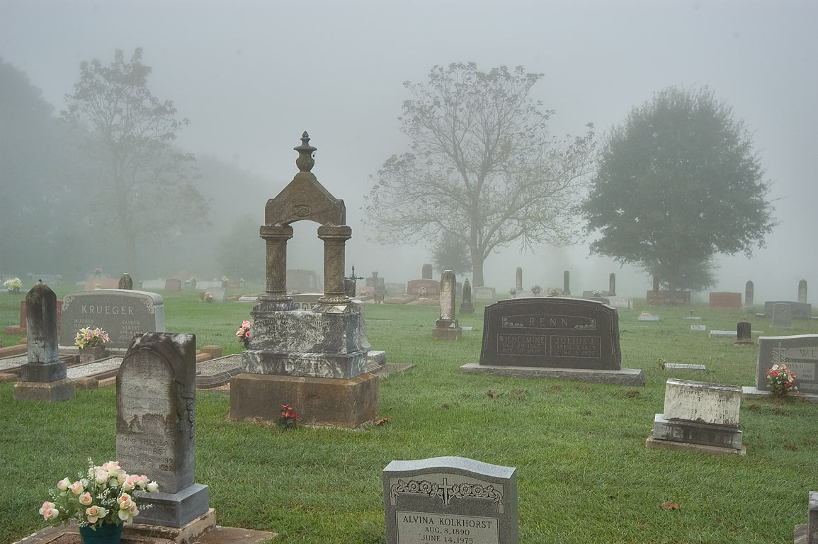 Friedence Church Cemetery in fog. Washington, Texas