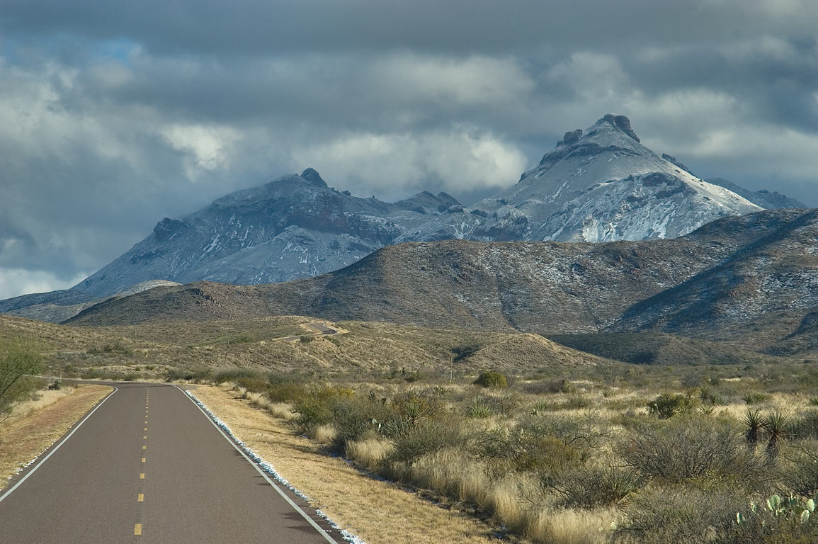 Chisos Mountains with snow, view from Castalon Highway. Big Bend National Park, Texas