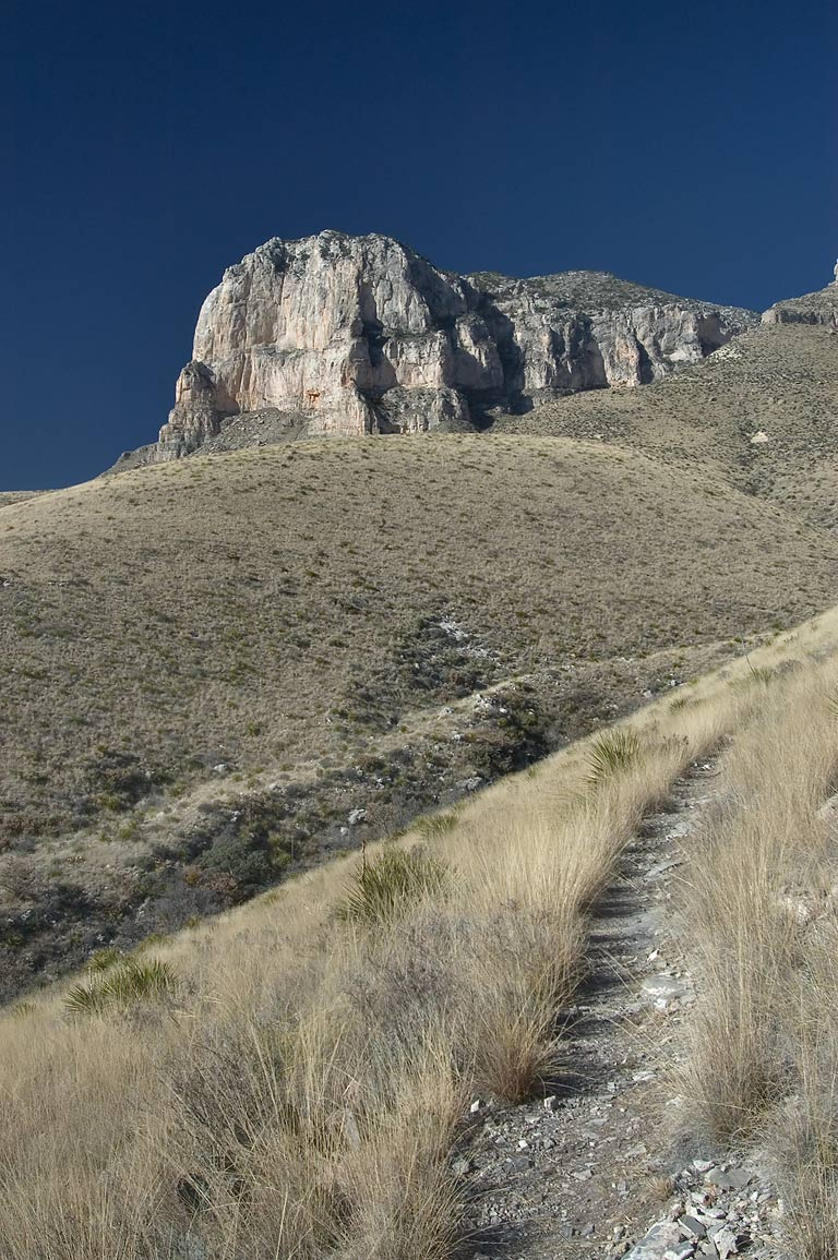 El Capitan Trail and Mountain in Guadalupe Mountains National Park. Texas