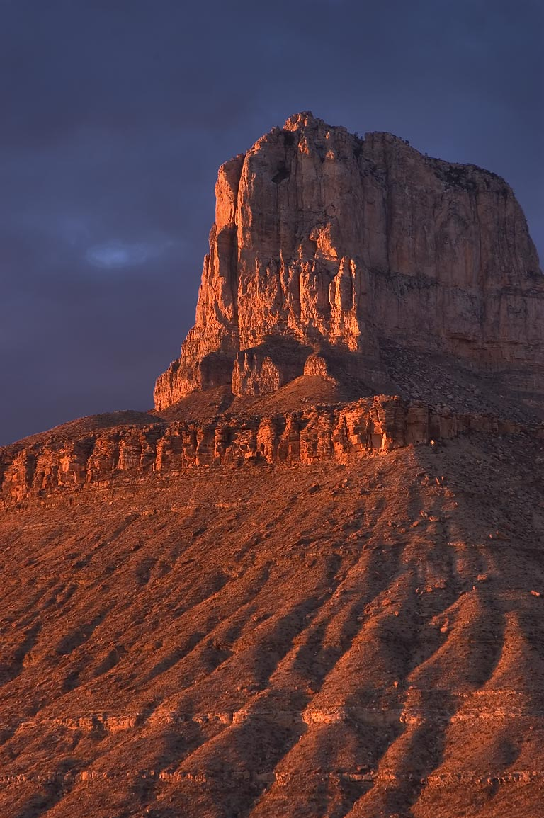 El Capitan Mountain at sunset, view from lower...Mountains National Park, Texas