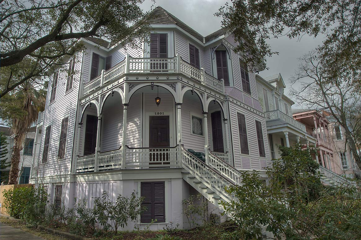 A house at 1801 Ball St., a corner of 14th St. in...Historic District. Galveston, Texas