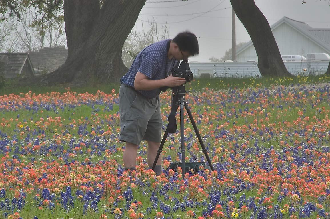 Photographer with large format camera among...Old Baylor Park. Independence, Texas