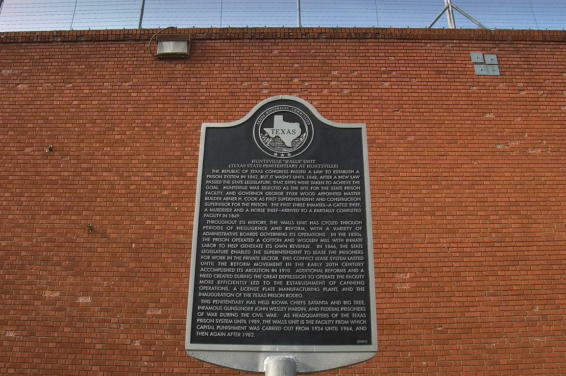 Memorial plaque of Texas Historical Commission in...TDCJ prison system. Huntsville, Texas
