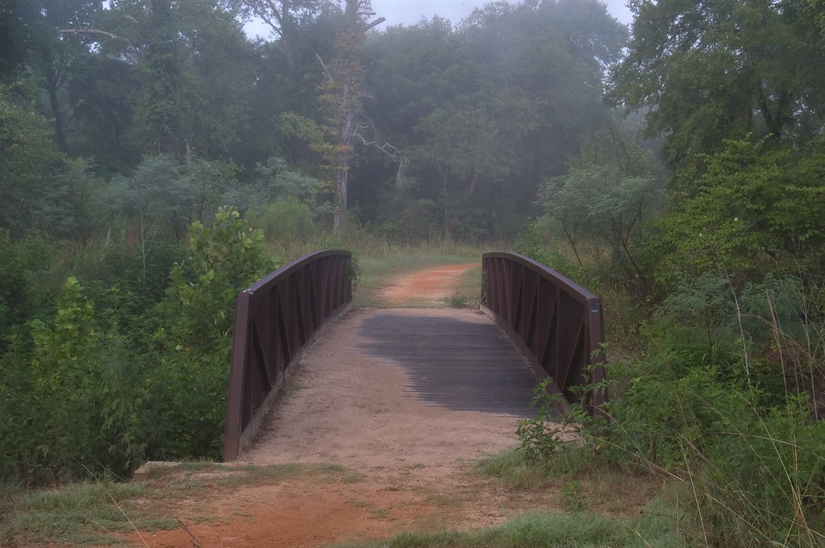 Bridge across Lick Creek on Deer Run Trail in Lick Creek Park. College Station, Texas